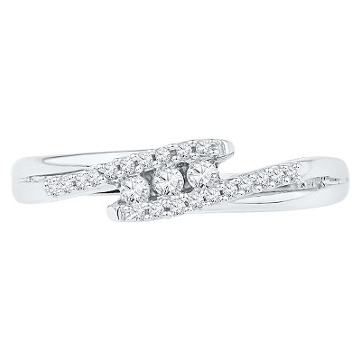 1/6 CT. T.W. Round Diamond Prong and Channel Set Three Stone Fashion Ring in 10K White Gold (6.5), Women's