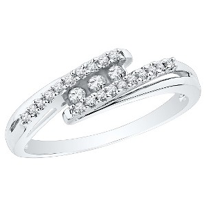 1/6 CT. T.W. Round Diamond Prong and Channel Set Three Stone Fashion Ring in 10K White Gold (7.5), Women