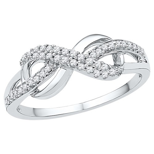 1/5 CT. T.W. Round Diamond Prong Set Infinity Fashion Ring in Sterling Silver (7.5), Women's, White