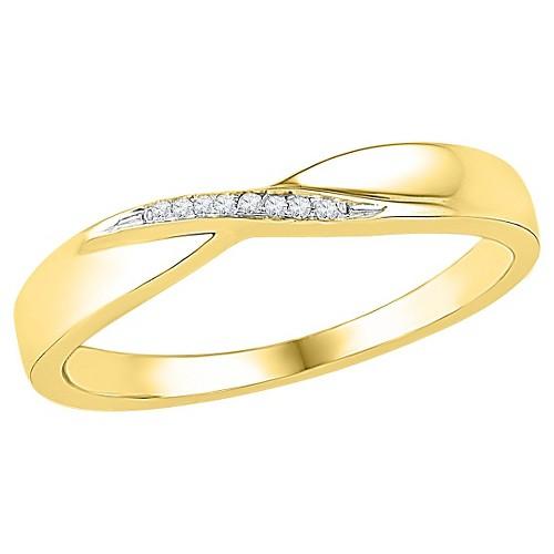 1/20 CT. T.W. Round Diamond Prong Set Fashion Ring in 10K Yellow Gold (4.5), Women's