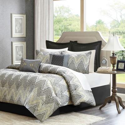Gray Astoria Comforter Set Jacquard King 12pc 7pc