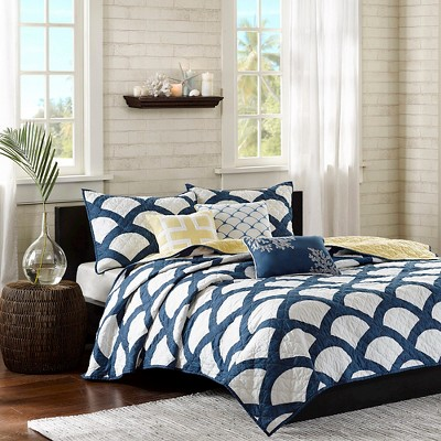 Aruba 6 Piece Quilted Coverlet Set - Blue (Full/Queen)