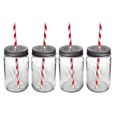 4ct Monogram Wedding Mason Jars with Lids & Decorative Straws