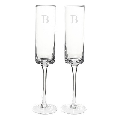 2ct Monogram Contemporary Wedding Champagne Flutes