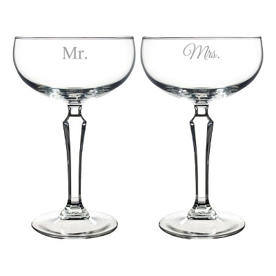 2ct Mr. & Mrs. Wedding Champagne Coupe Toasting Flutes