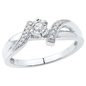 0.12 CT. T.W. Round Diamond Prong and Miracle Set Promise Ring in Sterling Silver (8), Women