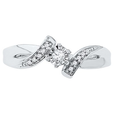 0.12 CT. T.W. Round Diamond Prong and Miracle Set Promise Ring in Sterling Silver (7), Women's, White