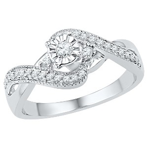1/4 CT. T.W. Round Diamond Prong and Miracle Set Promise Ring in Sterling Silver (5), Women