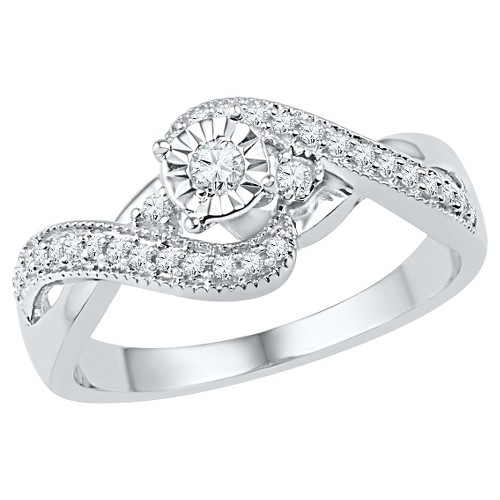 1/4 CT. T.W. Round Diamond Prong and Miracle Set Promise Ring in Sterling Silver (5.5), Women's, White