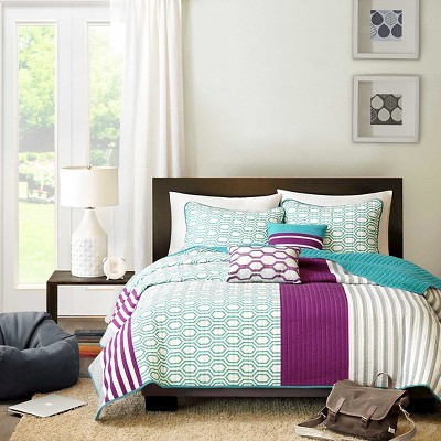 Kyra 4 Piece Quilted Coverlet Set - Purple (Twin/TXL)