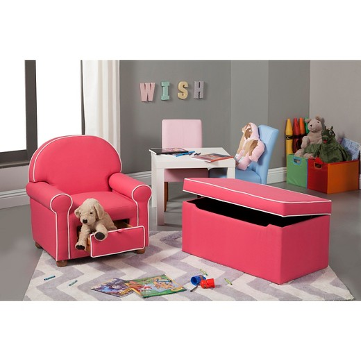 loved ... - Kids Storage Ottoman Pink/White - HomePop : Target