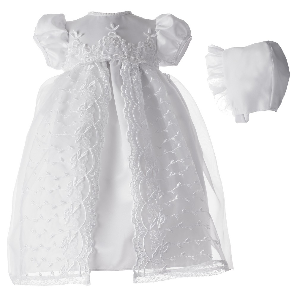 Small World Baby Girls Organza Embroidered Dress - White 6-9 M