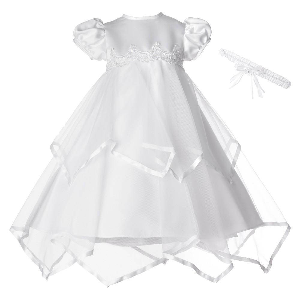 Small World Baby Girls Satin Ribbon Handkerchief Dress - White 6-9 M