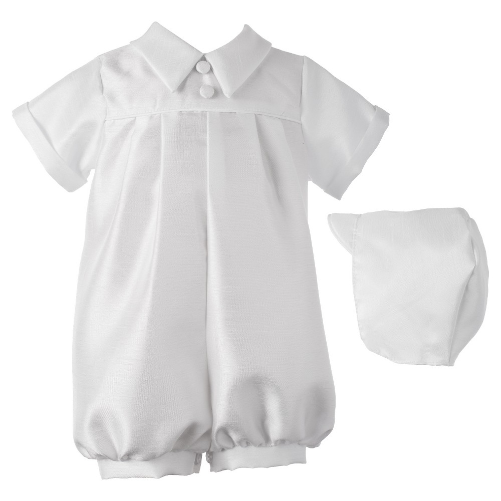 Small World Baby Boys Romper with Pleat Front - White 0-3 M