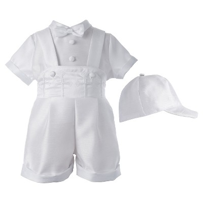 Small World Baby Boys' Shorts Set with Embroidered Crosses - White 0-3 M