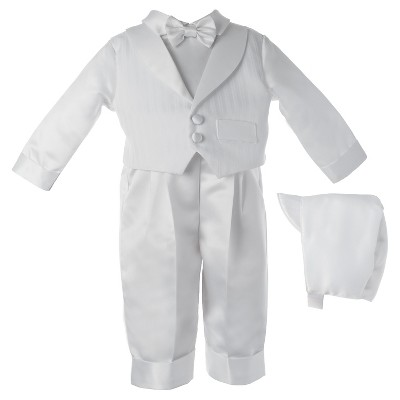 Small World Baby Boys' Long Pants Set with Embroidered Vest - White 6-9 M