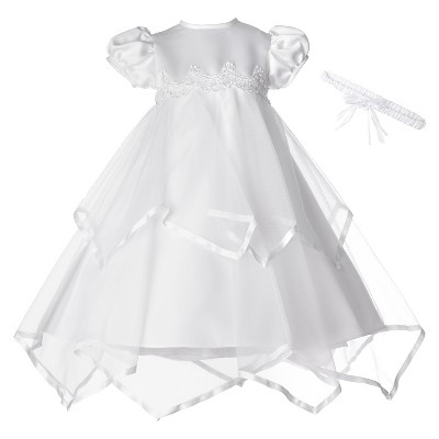 Small World Baby Girls' Satin Ribbon Handkerchief Dress - White 0-3 M
