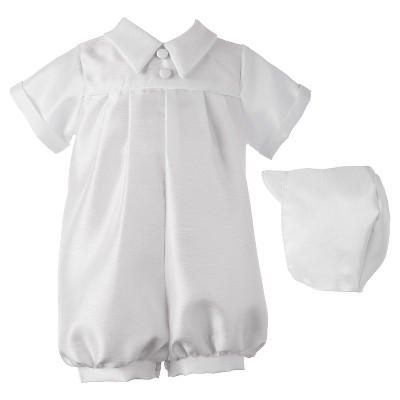 Small World Baby Boys' Romper with Pleat Front - White 9-12 M
