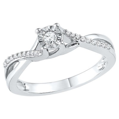 1/6 CT. T.W. Round Diamond Prong and Miracle Set Promise Ring in 10K White Gold (5)