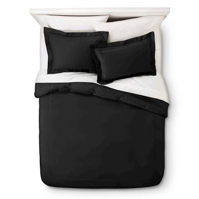 Wrinkle Resistant Verona Embroidery Duvet Cover Set - Black (Full/Queen)