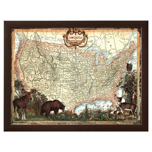 Artcom USA Map Framed Print Target - Us map framed