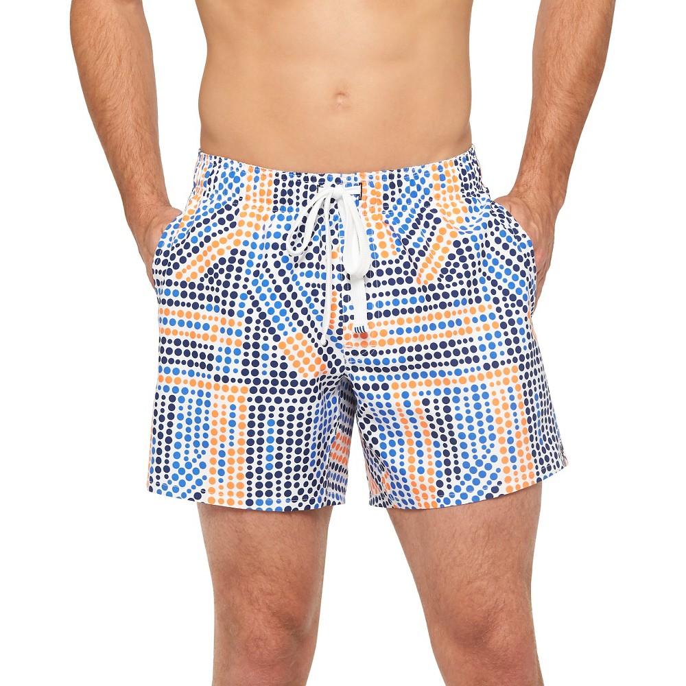 Men's Dots Swim Trunks S - Evolve by 2(x)ist, Blue Orange White