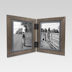 "2 Opening Hinged Windowpane Frame 5""x7"" Coffee - Threshold™"
