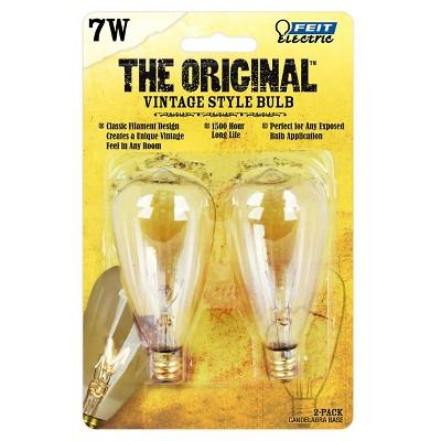 Feit 7-Watt Vintage ST12 Candelabra Base Incandescent Light Bulb (2-Pack)- Soft White