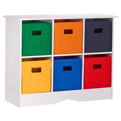 RiverRidgeu0026#174; Kids 6 Bin Storage Cabinet   White/Primary