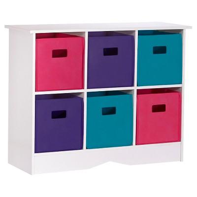 RiverRidge Kids 6 Bin Storage Cabinet   White/Jewel