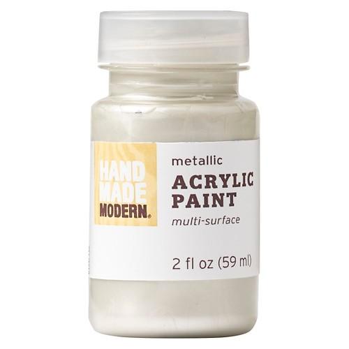 Hand Made Modern - 2oz Metallic Acrylic Paint - Platinum (White)