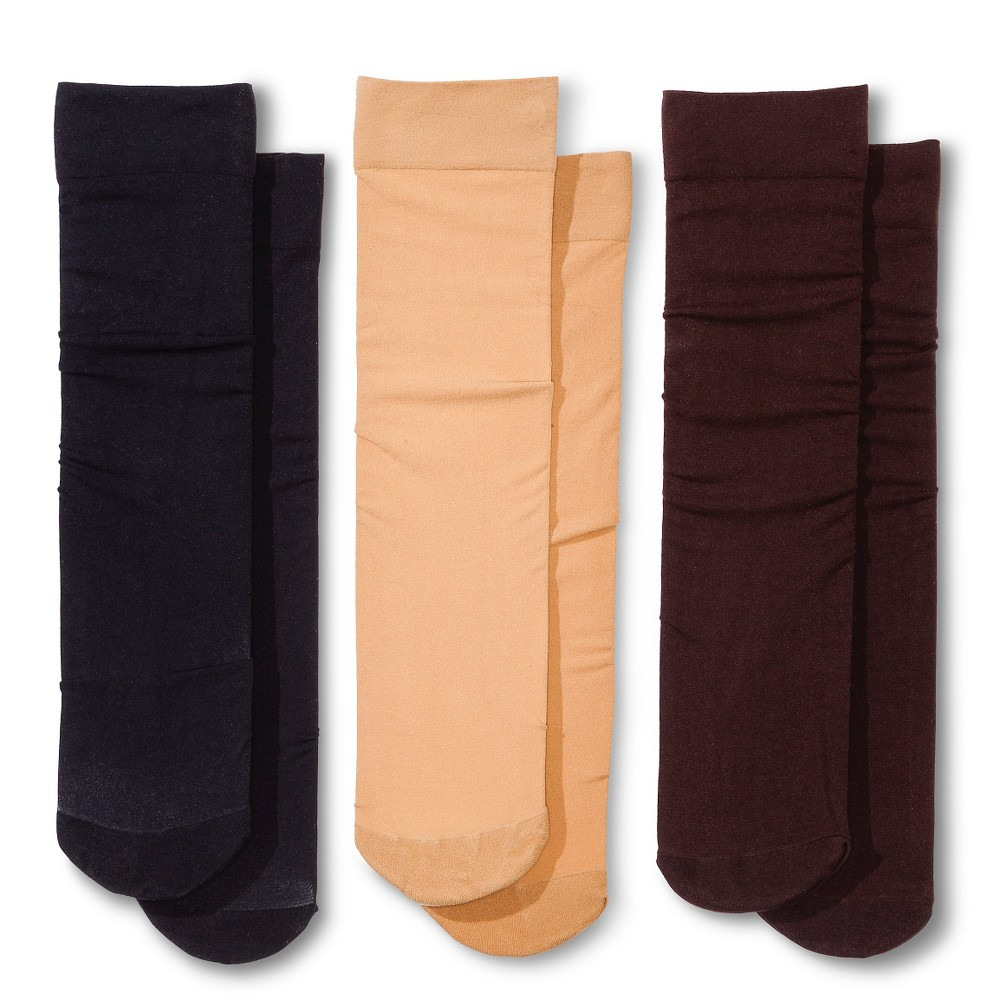 Women's Trouser Socks 3-Pack Nude/Java/Black 4-10 - Merona plus size,  plus size fashion plus size appare