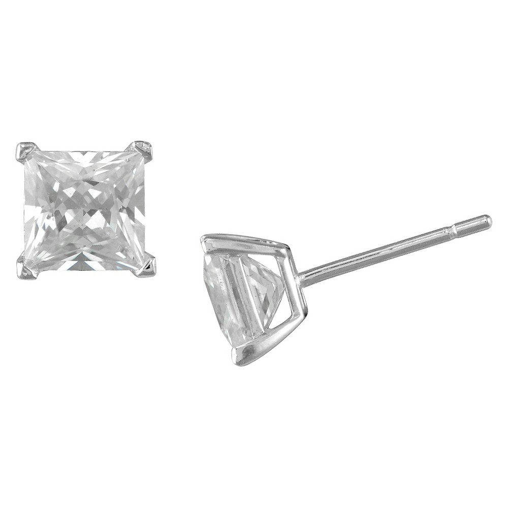 Womens Sterling Silver Square Stud Earring - White (6mm)