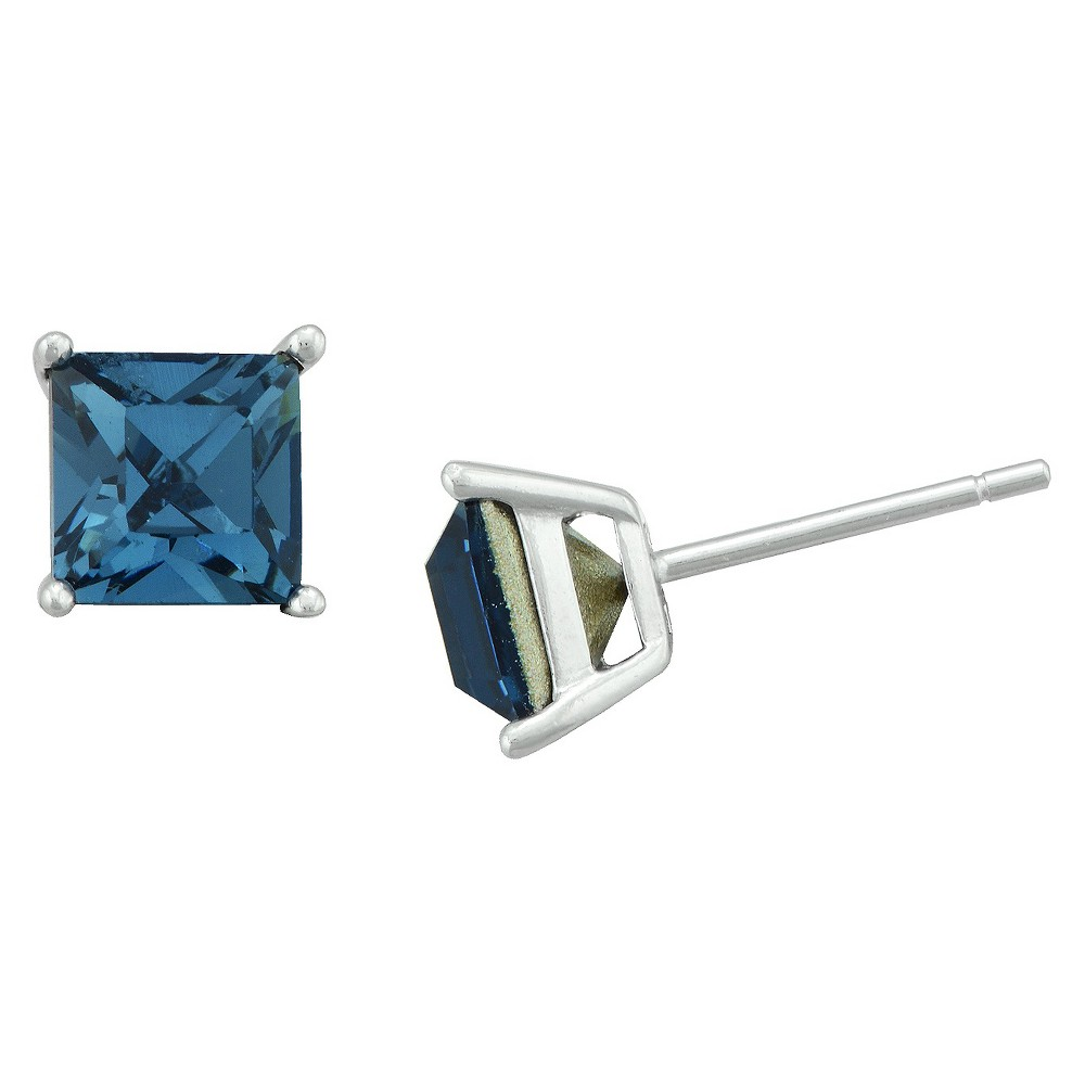 Womens Sterling Silver Square Stud - Blue (6mm)