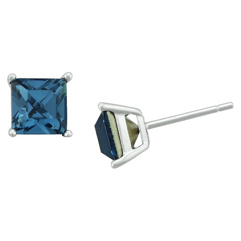 Women's Sterling Silver Square Stud - Blue (6mm) - image 1 of 1