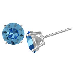 Women's Sterling Silver Round Lite Sapphire Stud Earring (8mm)
