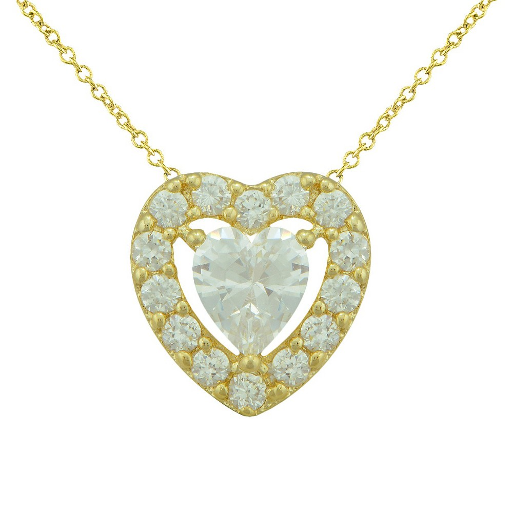 Womens Silver Plated Cubic Zirconia Heart Necklace - Yellow, Gold