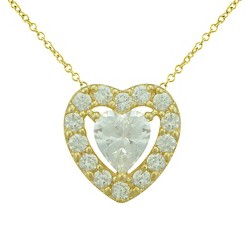 Women's Silver Plated Cubic Zirconia Heart Necklace - Yellow