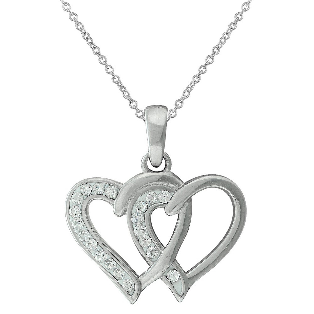 Womens Silver Plated Crystal Double Heart Pendant (18)