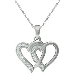 "Women's Silver Plated Crystal Double Heart Pendant (18"")"