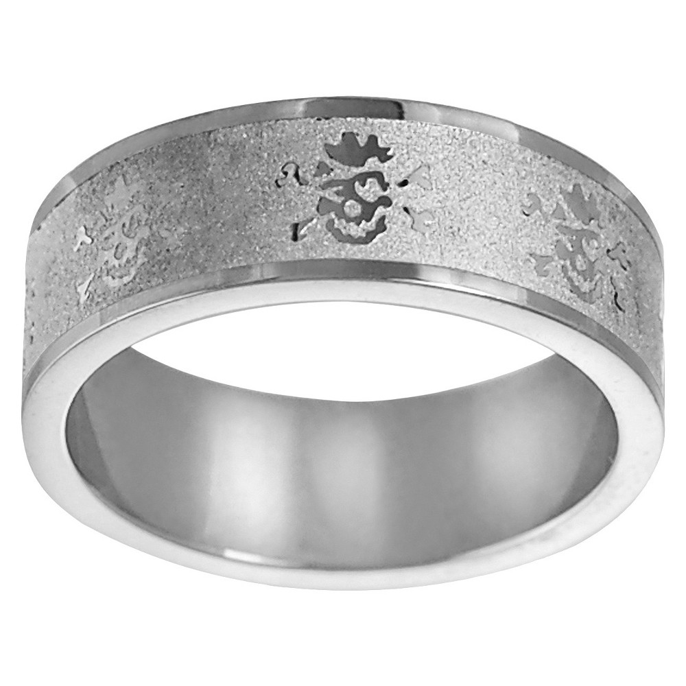 Mens Daxx Etched Stainless Steel Band - Silver (9) (8MM)
