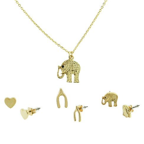 Women's Elephant Necklace Set with Three Earrings - Gold - image 1 of 2