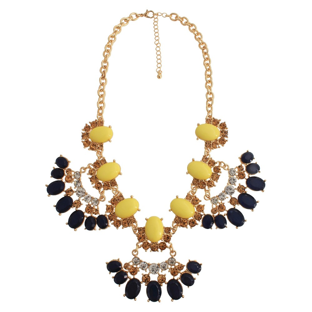 Womens Statement Necklace with Stones - Gold/Blue (17.5), Gold/Yellow/Clear/Navy