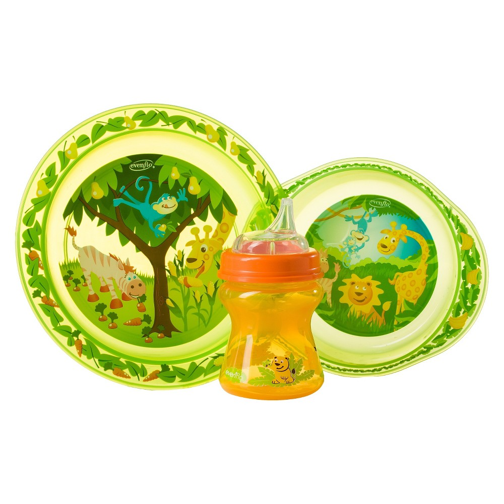 Evenflo Zoo Friends 3pc Toddler Feeding Set with Plate, Bowl and Cup, Multi-Colored