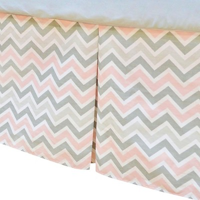 TL Care 100% Cotton Tailored Bed Skirt with Pleat Pink and Gray Zig Zag