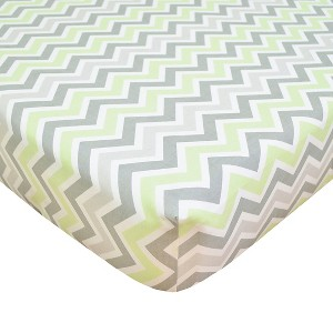 TL Care 100% Cotton Percale Fitted Crib Sheet Celery and Gray Zig Zag, Chive Green Opaque