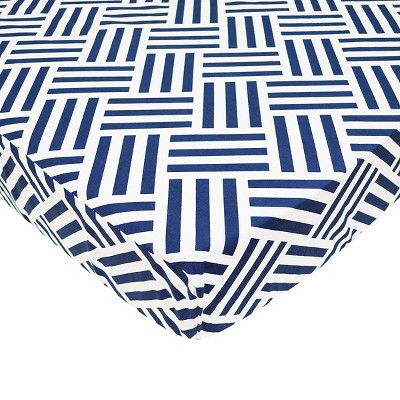 TL Care 100% Cotton Percale Fitted Crib Sheet Navy Parquet