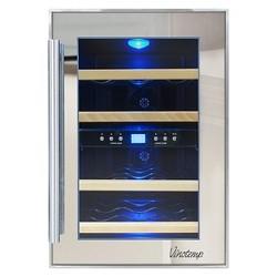 Vinotemp 12-Bottle Dual-Zone Thermoelectric Wine Cooler - Black VT-12TSP-2