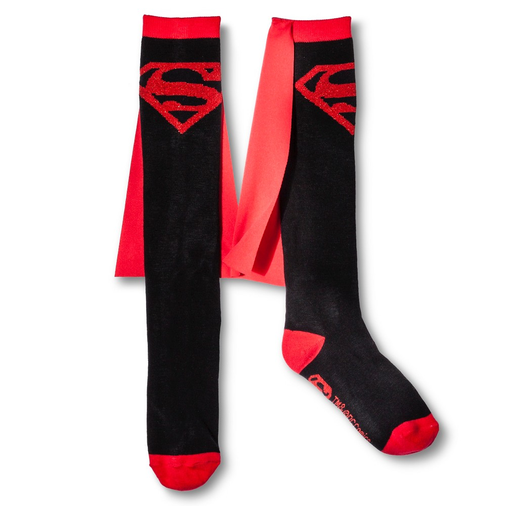 Superman Womens Caped Knee High Sock - Red/Black One Size