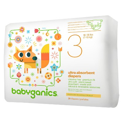 Babyganics Ultra Absorbent Disposable Diapers - Size 3 (31 ct)